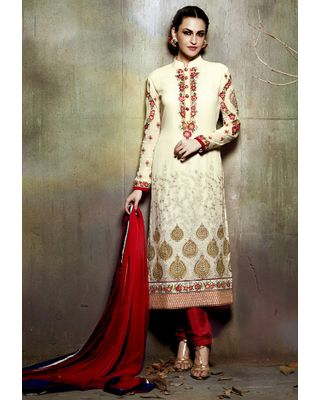 A148 SALWAR.UK  Embroidered Straight Cut Georgette Suit in Cream