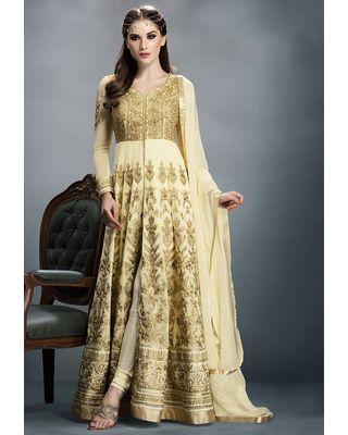 A141 SALWAR.UK Beige Faux Georgette and Art Silk Abaya Style Churidar Kameez