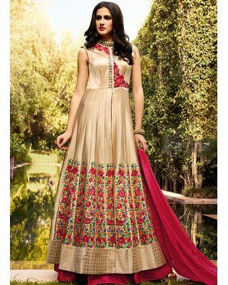 A154 SALWAR.UK B168Cream Art Silk Long Length Salwar Suits