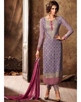B272 Lilac Purple Georgette Straight Cut Salwar Kameez
