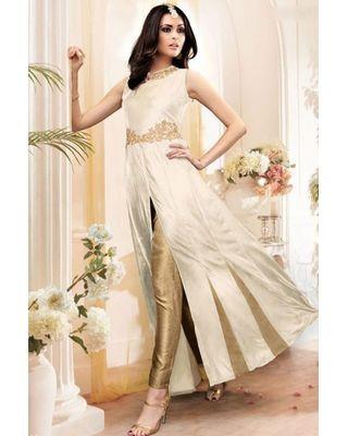 B310 Cream Banarasi Silk Anarkali Suit