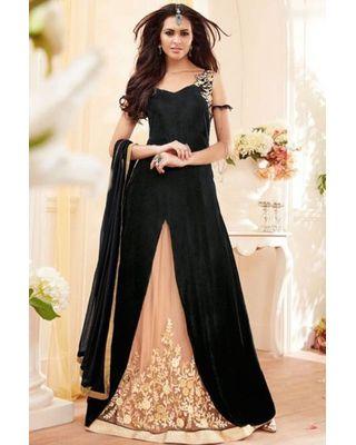 B314 Black Georgette/Net Anarkali Suit