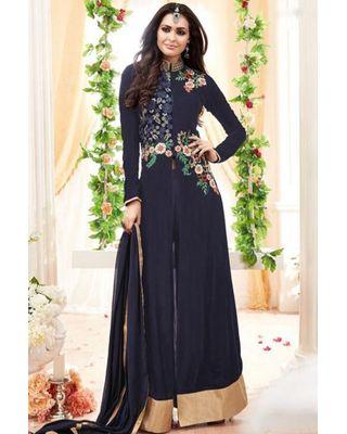 B315 Navy Blue Anarkali Georgette Suit