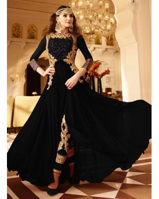 B318 Black Georgette Anarkali Suit