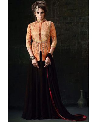B323 Orange And Black Silk Anarkali Suit