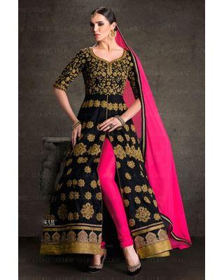 B324 Black Pink Banglori Silk Anarkali Suit