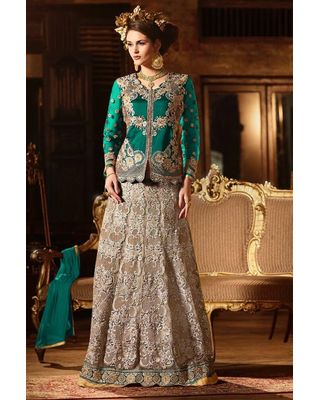 B330 Green Net/Banglore Silk Lehenga Suit