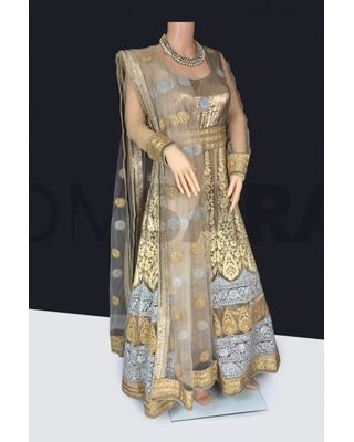 B755 Readymade Beige Gold And Silver Anarkali Gown