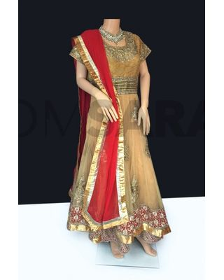 B756 Readymade Beige And Gold Net Anarkali Suit