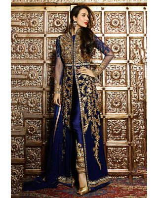 A128 SALWAR.UK  Embroidered Abaya Style Front Slit Georgette Suit in Navy Blue