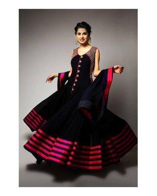 SALWAR.UK New Designer Black Anarkali Salwar Kameez