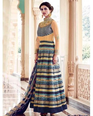 A173 SALWAR.UK CREAM AND MULTI COLOR BANGALORE SILK ANARKALI PRINTED SUIT