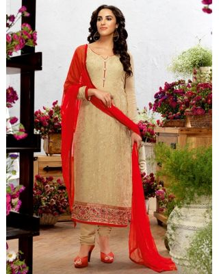 A178 SALWAR.UK BEIGE GEORGETTE SUIT WITH EMBROIDERY WORK