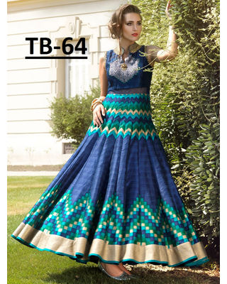 A136 SALWAR.UK  Georgeous Blue Digital Print Partywear Gown