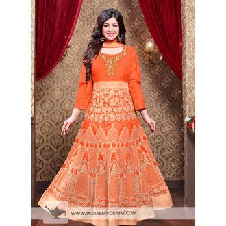 Ayesha Orange Silk Heavy Embroidery Anarkali Suit