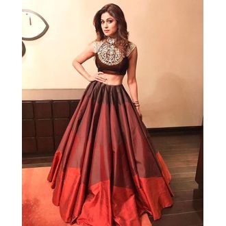 Internatinal Shamita Shetty Brown Semi-Stitched Banglori Silk Lehenga