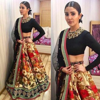 Internatinal Anushka Sharma Multicolor Semi-Stitched Crepe Silk Lehenga