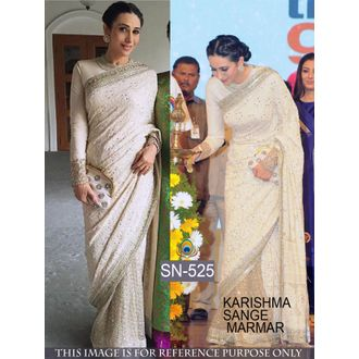 Karishma Kapoor Beige 60G Georgette and Net Bollywood Saree