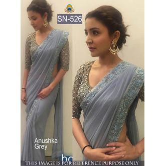 Anuskha Grey Color 60 G Georgette Bollywood Saree