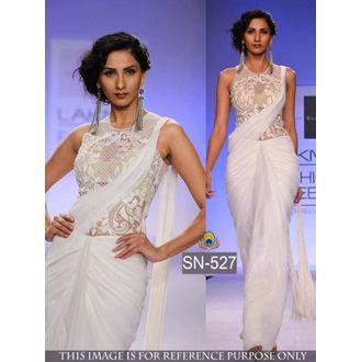 White Designer 60 G Georgette Bollywood Saree