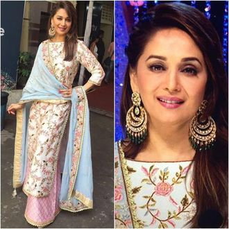 Madhuri Pink Georgette Bollywood Saree
