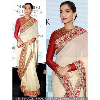 Sonam Kapoor Un-Stitched Free Size Georgette Fabric Saree
