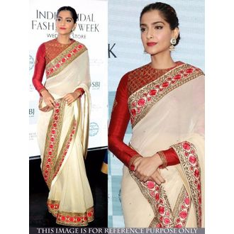 Internatinal MultiColor Georgette Embroidered Sonam Kapoor Saree