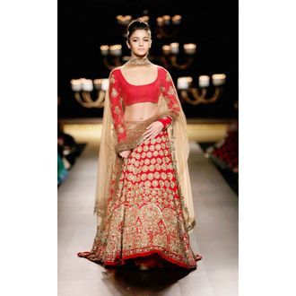 Alia Bhatt red embellished bollywood lehenga choli