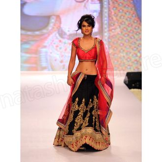 Nia Sharma red & black bollywood lehenga choli