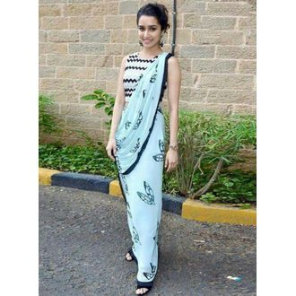 Shraddha Kapoor Sky Blue Georgette Embroidered Saree