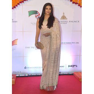 Aishwarya Rai Cream Georgette Saree