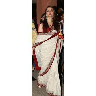 Aishwarya Rai White And Red Georgette Saree