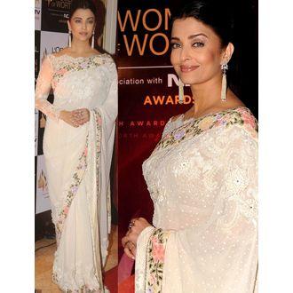 Aishwarya Rai White Georgette Saree
