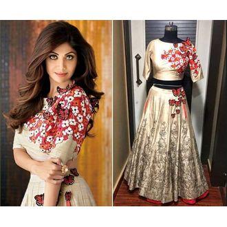 Shilpa Shetty Golden banglori silk embroidery lehenga