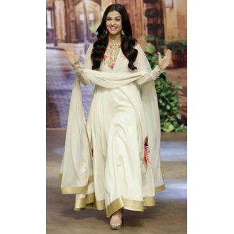 Aishwarya White Embroidery Silk Anarakali Salwar Suit With Dupatta