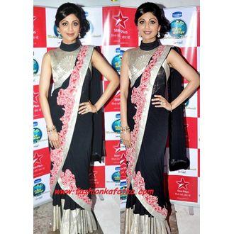 Shilpa Shetty Black Designer Saree