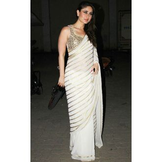 Kareena Kapoor cream embroiderd saree