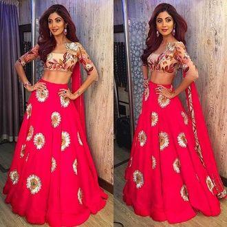 Pink Crep Designer Bollywood Semi-Stitched Lehenga