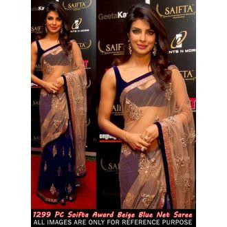 Priyanka Chopra Beige & Blue Designer Saree