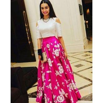 Pink & White Silk Heavy Work Embroidered Semi Stitched Shraddha Kapoor Lehenga Choli