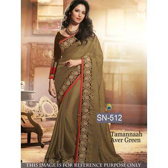 Tamanna Ever Green Satin Chiffon Bollywood Saree