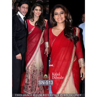 Kajol Dilwale Red Color 60G Georgette and Net Bollywood Saree
