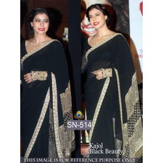 Kajol Black Color 60G Georgette Bollywood Saree