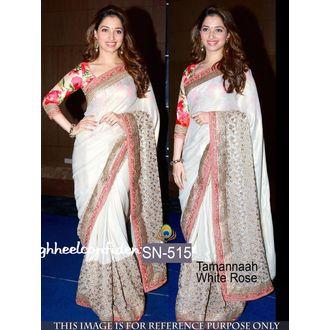 Tamanna White Rose Satin Silk Bollywood Saree