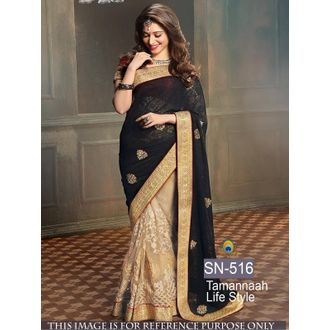 Tamanna Black Life style 60G Georgette and Net Bollywood Saree