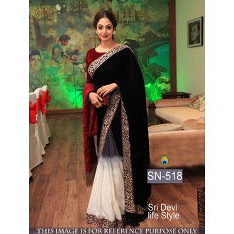 Sri Devi Maroon 9000 Micra Velvet and Chiffon pedding Bollywood Saree
