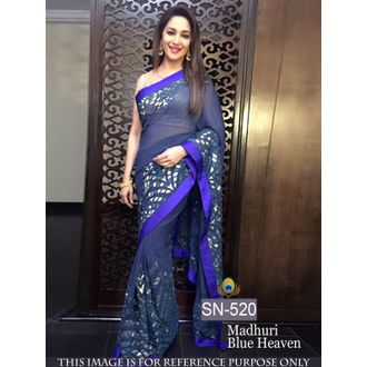 Madhuri Blue 60G Georgette Bollywood Saree