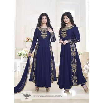 Ayesha Takia Navy Blue Georgette Based Embroidered Anarkali Suit