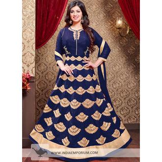 Ayesha Navy Blue Georgette Zari Work Anarkali Suit