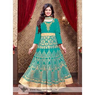 Ayesha Silk Teal Green Heavy Embroidery Zari Work Anarkali Suit